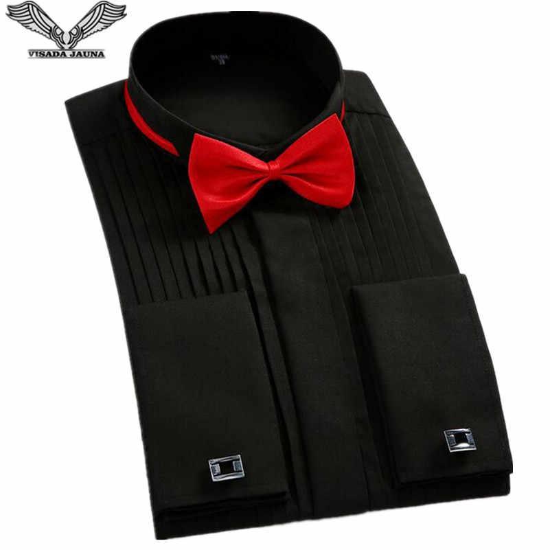 VISADA JAUNA 2018 ヨーロッパスタイル男性タキシードシャツ蝶ネクタイとフレンチカフススリムフィットコットンシャツ 4XL ビッグサイズ N8918