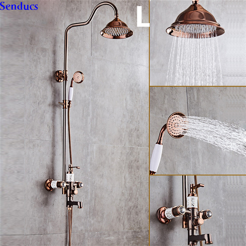 Senducs Orb Shower Sets With High Quality Brass Bathroom Shower Faucet For Luxury Rose Gold Bathroom Shower System Bathroom Tap Shower System Aliexpress