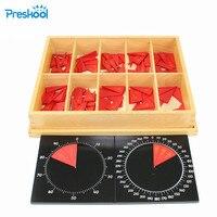 Montessori Math teaching aids kindergarten children wooden toys Cut Out Labeled Fraction Circles 11 20| |   -