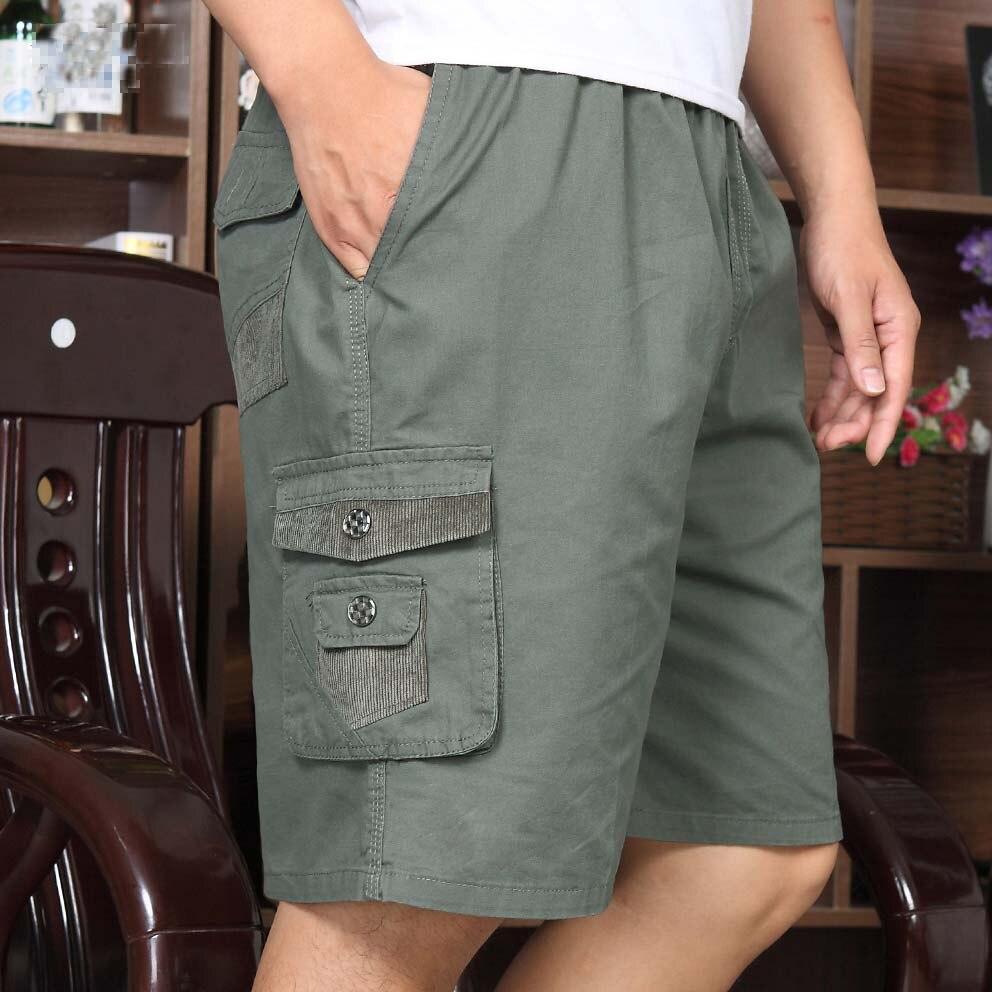 Shorts Men Beachwear Loose-Pockets Elastic-Waist Thin Summer Plus-Size Cotton Casual