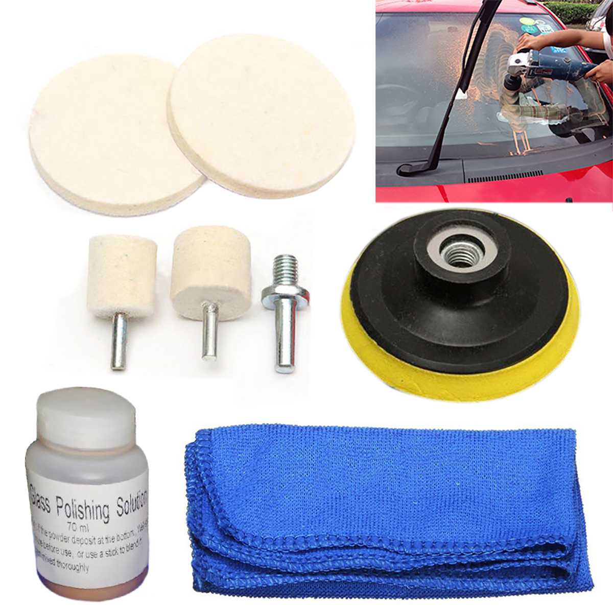 Mayitr Soluzione + Lana Lucidatura Kit Scratch Remover 70 ml di Vetro Tamponi Per Lucidatura Ruota + Panno Per Auto Parabrezza Posteriore Windows
