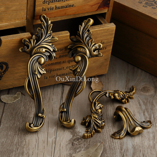 Hotsale 5Pair or 10PCS Furniture Handles European Antique Drawer Wardrobe  Cupboard Kitchen Cabinet Door Pulls Handles - Hotsale 5Pair Or 10PCS Furniture Handles European Antique Drawer
