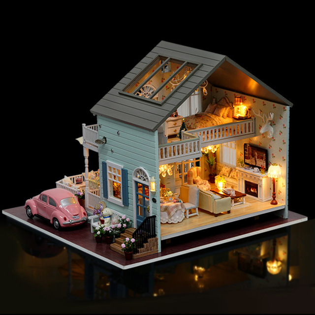 A035 Miniature Doll House Villa Model Wooden Furniture Toys Diy