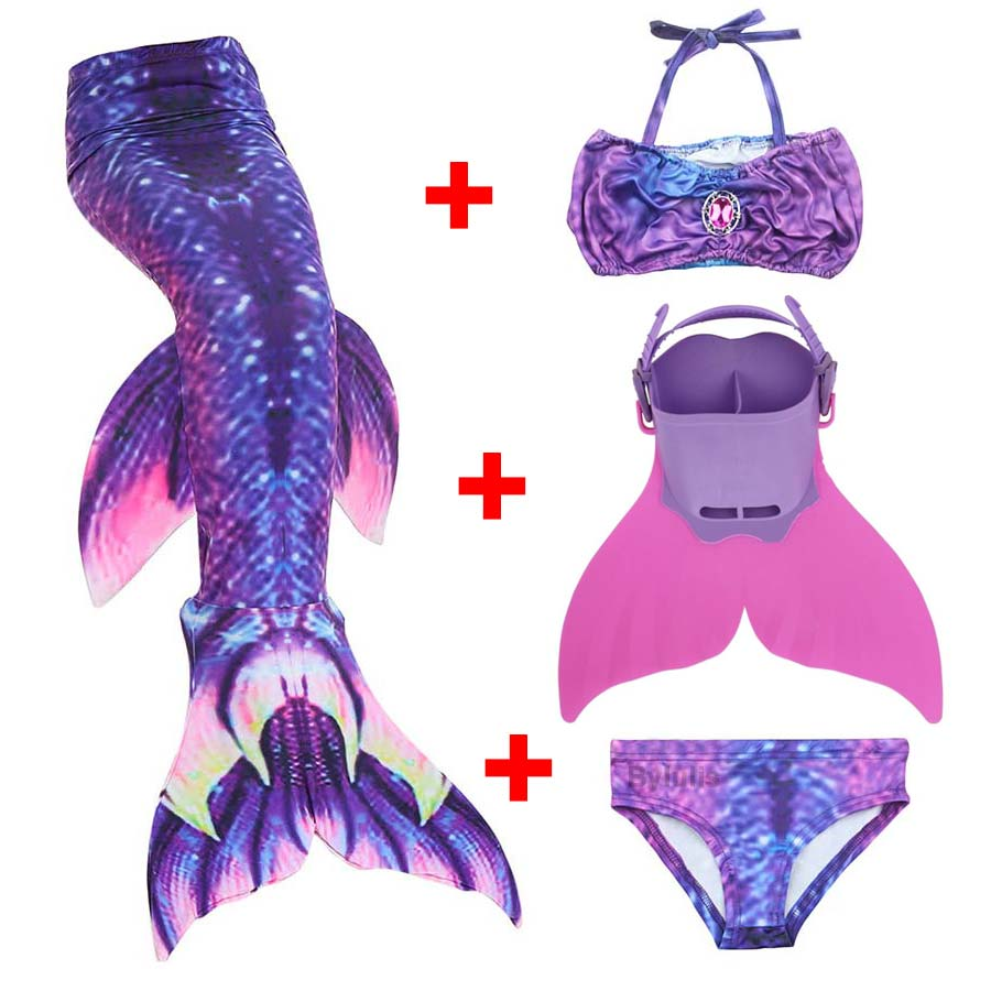 4pcs / set 7 barv dekle kopalke plavalne morske deklice z monofino - Karnevalski kostumi