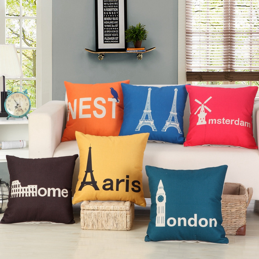 Cartoon Europe Building Sofa Throw Pillows London Big Ben Paris
