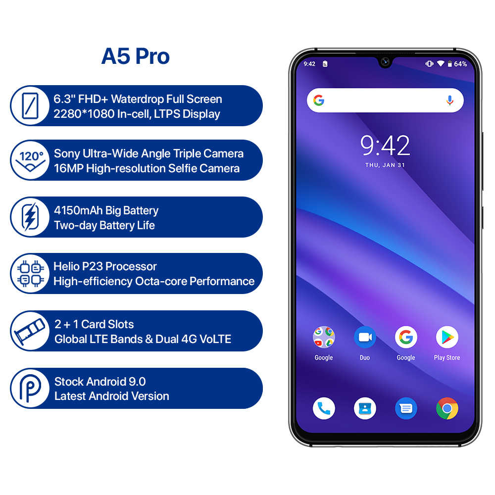 UMIDIGI A5 PRO Android 9,0 Octa Core teléfono móvil 6,3 'FHD + 16MP Triple 4150mAh Cámara 4GB RAM 32G ROM Smartphone gsm desbloqueado