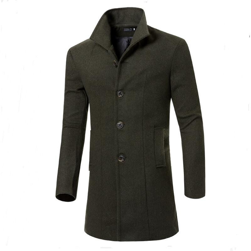 M-3XL!! Mens Full Length Wool Coat Men Trench Manteau Homme Sobretudo Navy Grey Cashmere Overcoat Wool Military Wool Coat Men