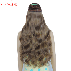 2 Piece Xi.Rocks 5 Clip in Hair Extension 70cm Synthetic Hair Clips Extensions 120g Curly Hairpin Hairpiece Sandy Taupe Color 68