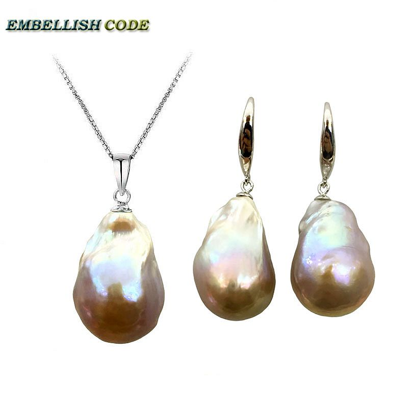 2018 purple golden Simple baroque pearl pandent necklace hook dangle earrings set nucleated fire ball style box chain 16'' 18'' rhinestone ball hook long chain earrings