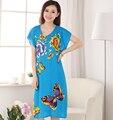 Moda mulheres de verão Robe vestido flor e borboleta impressão camisola de algodão Sleepwear vestido tamanho NR135