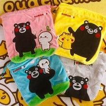 cool 1PCS Kumamon Cartoon Drawstring Bags Cute Plush storage handbags makeup bag Coin Bundle Pocket Purse NEW