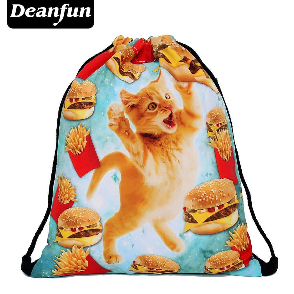 Deanfun 2017 women backpack printing bag for picnic mochila feminina harajuku drawstring bag mens backpacks fast food cat S45