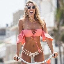 Women Bikini Off Shoulder Padded Ruffle Beachwear
