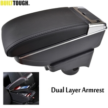 Center Console Arm Rest For VW Golf 6 08-13 Mk6 Jetta 5 06-11 2012 Vento Wagon Dual Layer Armrest Storage Box Cup Holder 2009