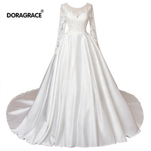 Doragrace vestidos de noiva Simple Elegant Vintage 3/4 Sleeve Court Train Bridal Gowns Wedding Dresses