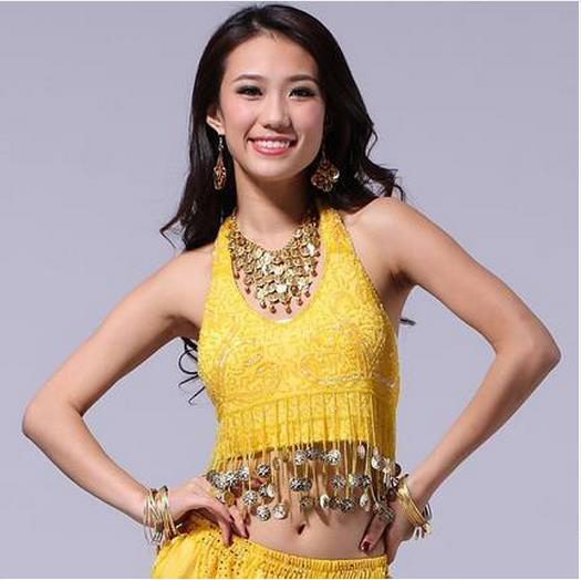 New Arrival Mesh Belly Dance Top Momen Sleeveless Gold Coins  Belly Dance Tops 9 Colors Sexy Tops