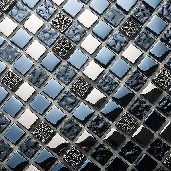 Retro Plated Black Silver Glass Mosaic Tile for ceiling wall kitchen