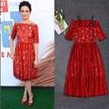 Women Elegant Summer Designing Short Sleeve Slash Neck Bright Red Lace Dress High Quality Large Plus Size XXL Strap Dresses