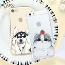 KISSCASE Cat Cartoon Case For iPhone 5 5s SE Cute Husky Silicone Cover 6 6s 7 8 Plus Soft Patterned Back Shell Coque