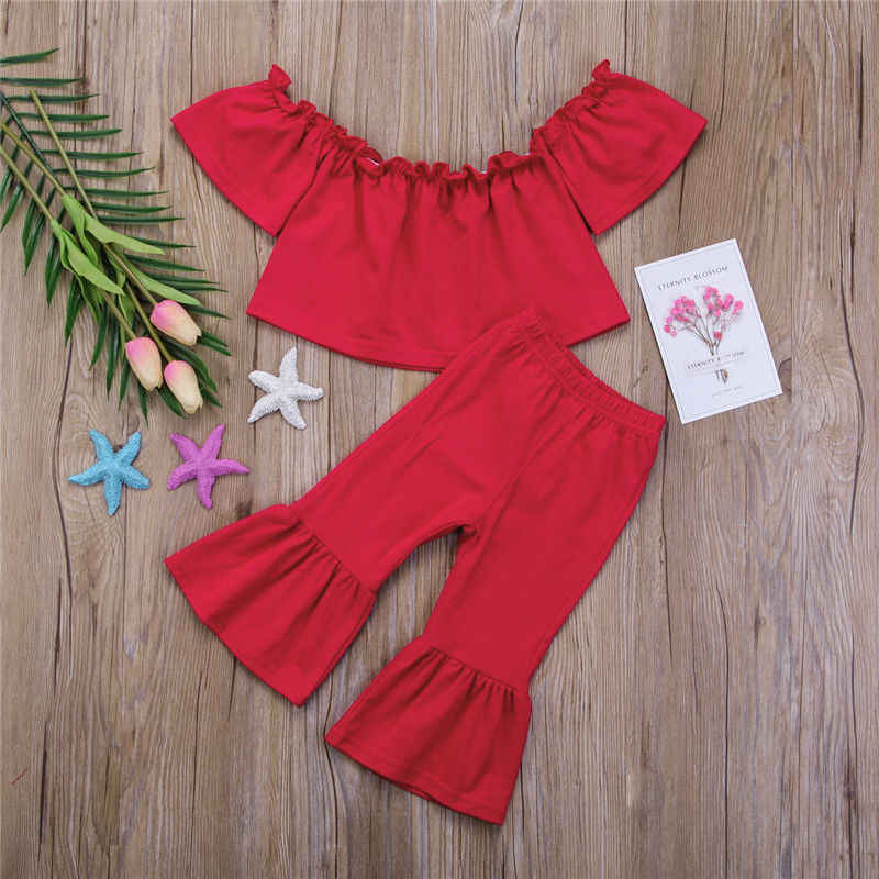 f702d9fad65 ... Newborn Girls Fashion Clothes OUtfits Off Shoulder Ruffles Crop Top+Bell-Bottom  Flare Pants ...