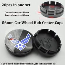 20 PÇS/SET 56mm ABS Emblema Do Carro Roda hub Caps emblema Do Carro Adesivos LOGOTIPO azul Marinho Auto Modificado centro de roda tampas