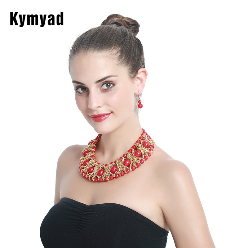 Kymyad Boutique Jewelry Sets For Women Gold Color African Beads Jewelry Set Party Accessories Necklace Earrings Set Wholesale цена 2017