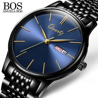 ANGELA BOS Business Ultra Thin Men S Watches 2017 Top Brand Luxury Quartz Stainless Steel Watches