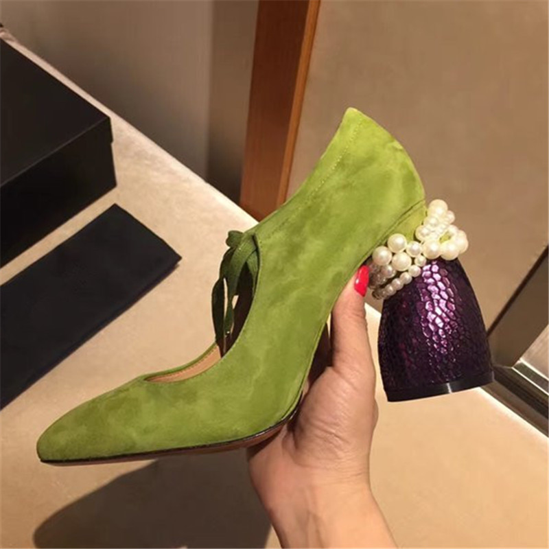 Plus size 34-43 Genuine Leather Kid Suede Women Pumps Strange Heel Sexy Ladies Lace Up High Heels Pearl Beading Wedding Shoes masura гель лак 290 29m романтика