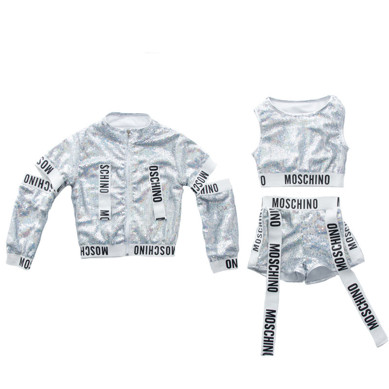 Silver Girls Sequin Costumes For Holidays Kids Sequin Jacket Crop Vest Top Shorts 3pcs Children Girls Stage Dance Wear Outfits lettuce edge bardot crop top with shorts