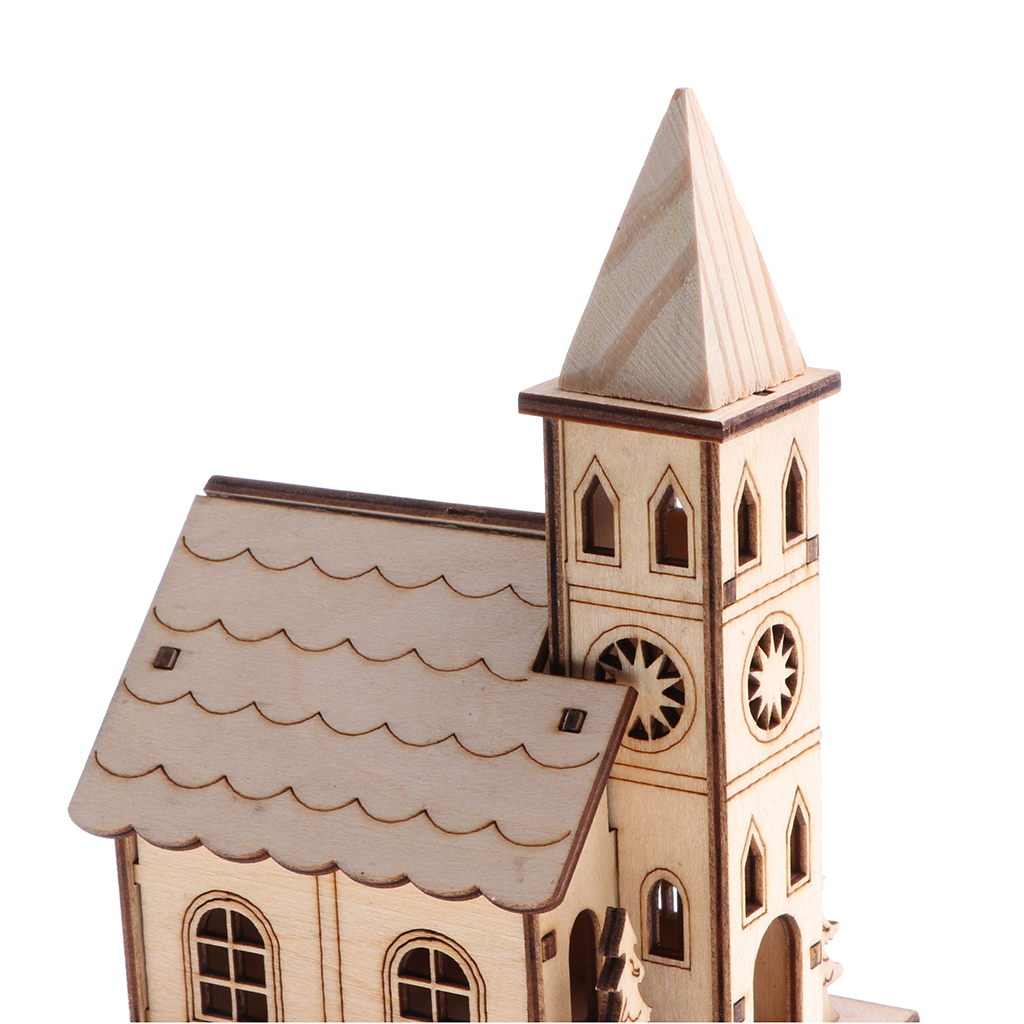 Novel Wooden 3D Puzzle Mini Bell Tower House Model Western Style Belfry House Home Decor Building Assemble Toy Educational Gift