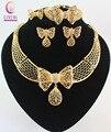 Женщины Бижутерия Ожерелье Наборы, Ювелирные Позолоченные Бабочки Дубай Rhinestone Свадебный Люкс нигерии Комплект Ювелирных Изделий