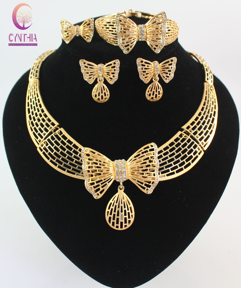Women Costume Jewelry Necklace Sets Fashion Gold Plated Butterfly Dubai Rhinestone Wedding Bridal nigerian Jewelry Set