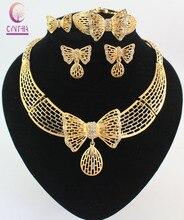 Женщины Бижутерия Ожерелье Наборы Мода Золото цвет Бабочки Дубай Rhinestone Свадебный Люкс нигерии Комплект Ювелирных Изделий