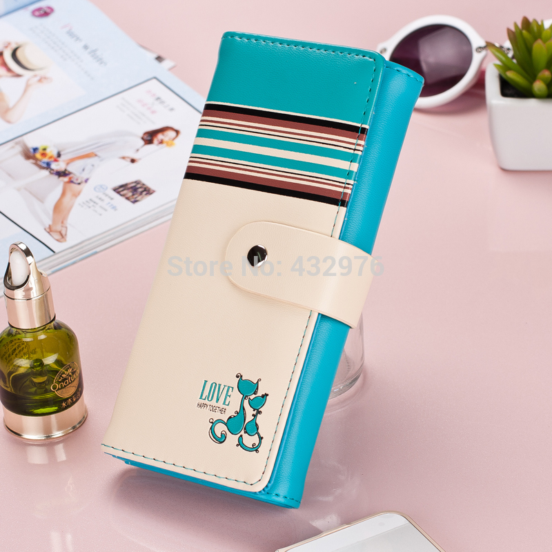 New Women Wallets Soft PU Leather Cute Cats Hasp Lady Purses Wallet Cards ID Holder Moneybags Women Long Clutch Coin Purse Burse lady purses handbags women wallets clutch coin purse cards holder cartoon dogs moneybags woman burse long wallet bags notecase
