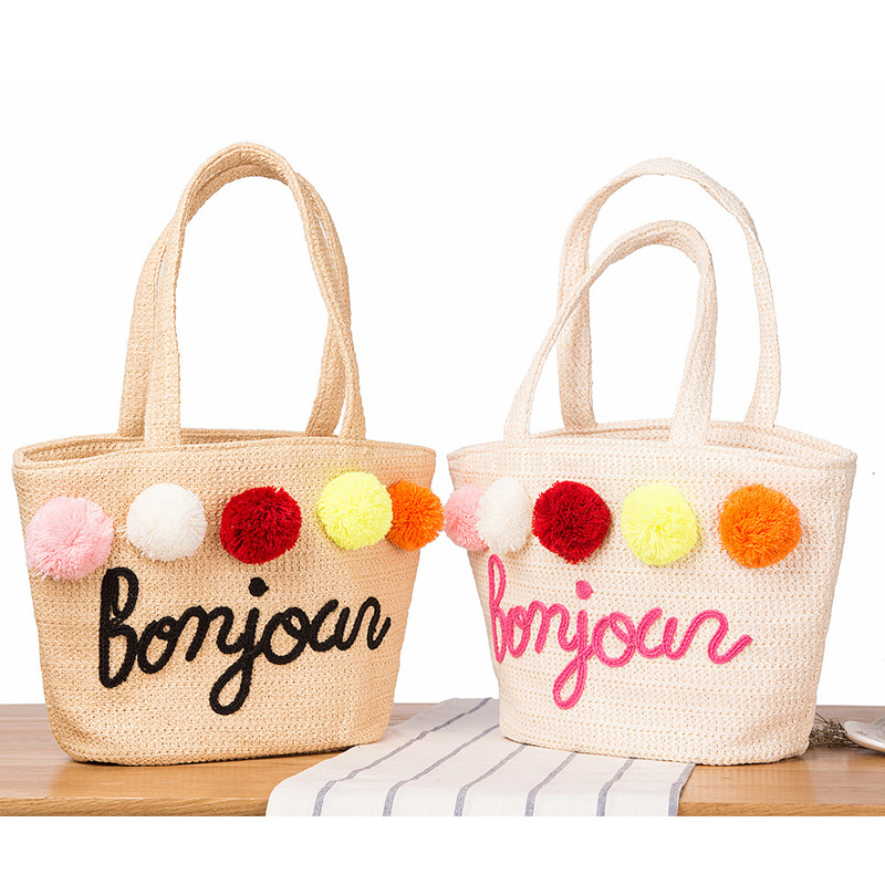 Pattern PP Shoulder Straw Hand Embroidery Letter Sandy Beach bag Summer Vacation Weave Package sandy beach round mat