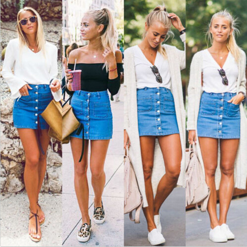 Fashion Women Button Denim Skirts High Waist Bodycon Slim Sexy Pencil Mini Skirt