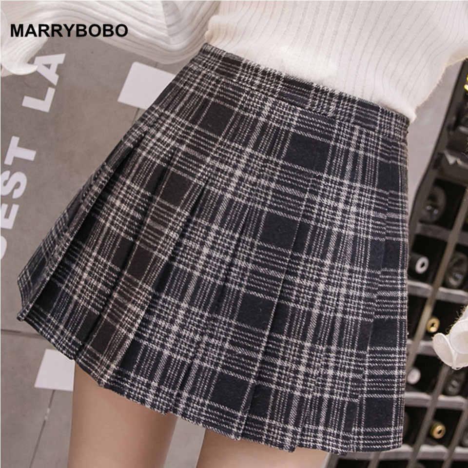 198d9195444d Autumn Winter Women Pleated Skirts 2019 Vintage High Waist Skirt Female  Korean Preppy Style Plaid Skirt