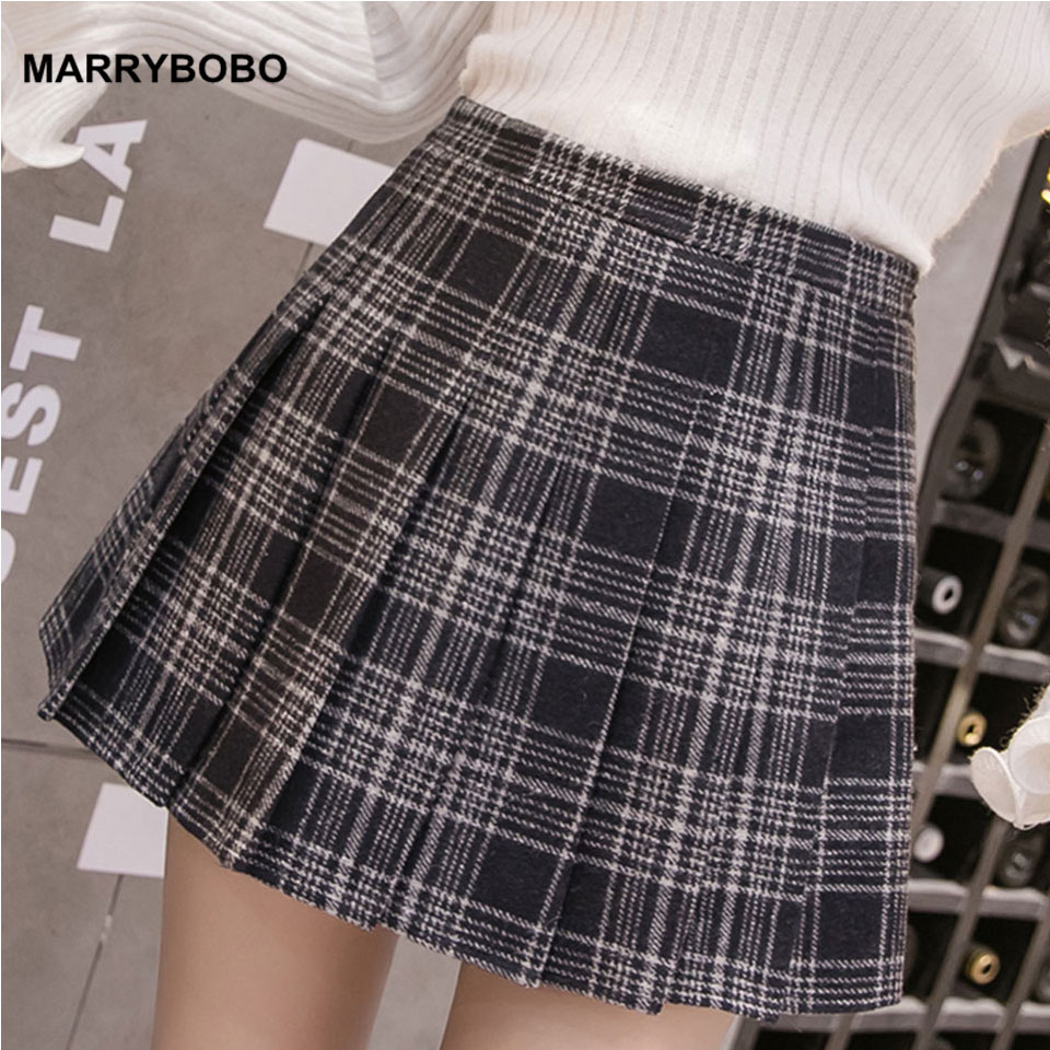 ba91b5e2ee Autumn Winter Women Pleated Skirts 2019 Vintage High Waist Skirt Female  Korean Preppy Style Plaid Skirt Lady A-Line Mini Skirts