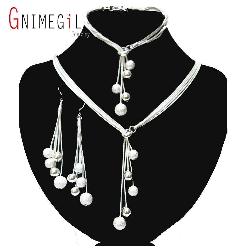 ̀ •́ GNIMEGIL Marque Bijoux Argent Plaqué Femmes Bijoux Poli Fini ... adb60ddc56b9