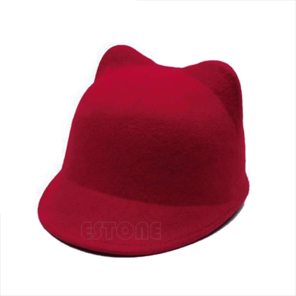 49912d1d721f9 Winter Fashion Women Devil Hat Cute Kitty Cat Ears Wool Derby Bowler Cap