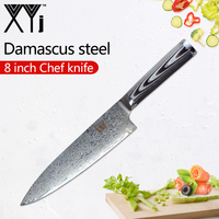 XYj Damascus Steel Kitchen Cooking Knives One Piece 8 inch Chef Damascus Steel Cooking Knife G10 Handle Beauty Pattern Knives