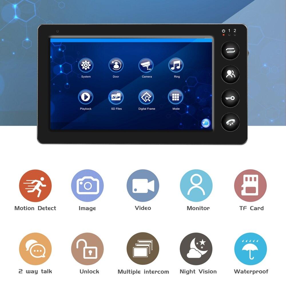 Door Intercom Wired Video Door Phone with Motion Detection Record for Home HD IR Video Doorbell Support CCTV Camera And unlock - 2