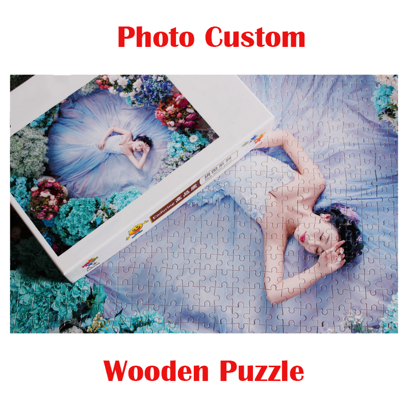 1000 Pieces Personalized Photo Custom Puzzle Wooden Jigsaw Scenery Animals Puzzle Adults Children Education Toys Home Decoration