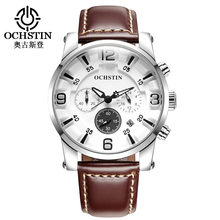 OCHSTIN Men Watch Male Clock Hour Leather Waterproof Sports Quartz Wristwatch Fashion Chronograph Relogio Masculino Hodinky