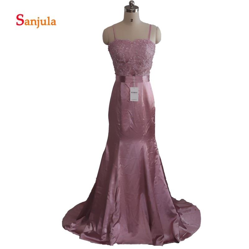 Mermaid   Bridesmaid     Dresses   Long Spagetti Straps Satin Junior Wedding Guest   Dresses   Lace Night Party Gowns vestido de festa D60