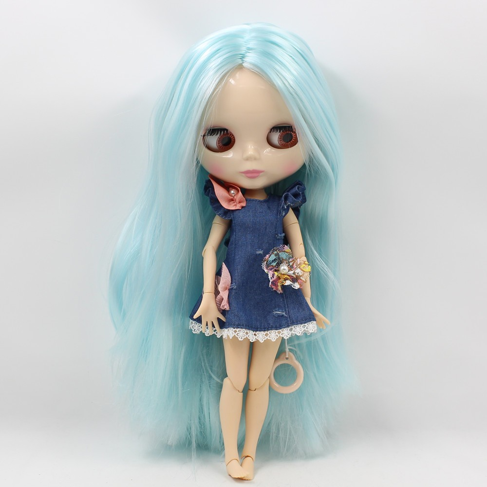 Neo Blythe Doll with Blue Hair, White Skin, Shiny Face & Jointed Body 5