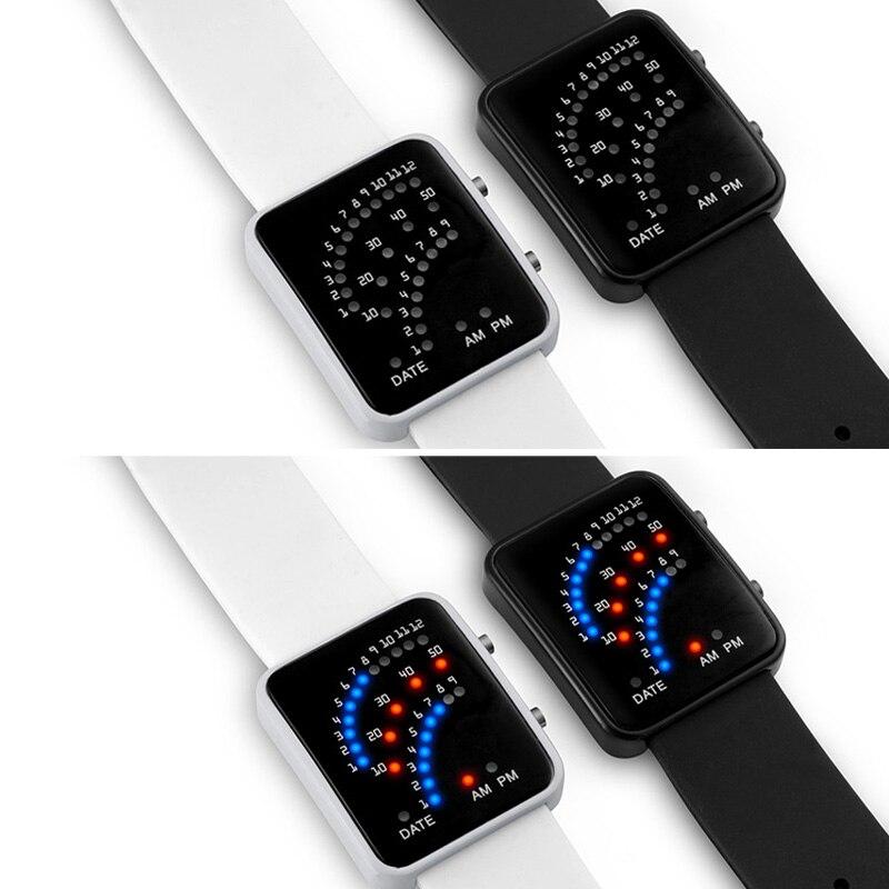LED Electronic Wrist Watch Sector Binary Digital Waterproof Fashion Unisex Couple Watches TY53