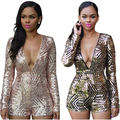 Womens Sexy Sequined Long Sleeve Deep V Neck Rompers Shorts Backless Playsuits Clubwear Clothes