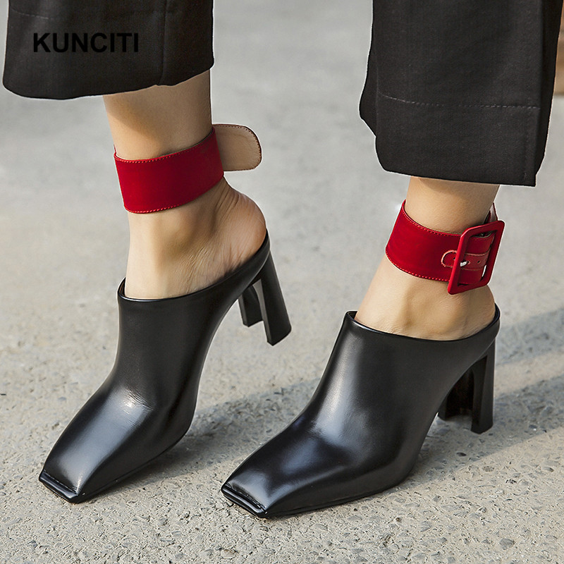 2019 KUNCITI Square Toe Ladies Leather Slippers Sexy High Heel Belt Buckled Mules Shoes Strange Heel
