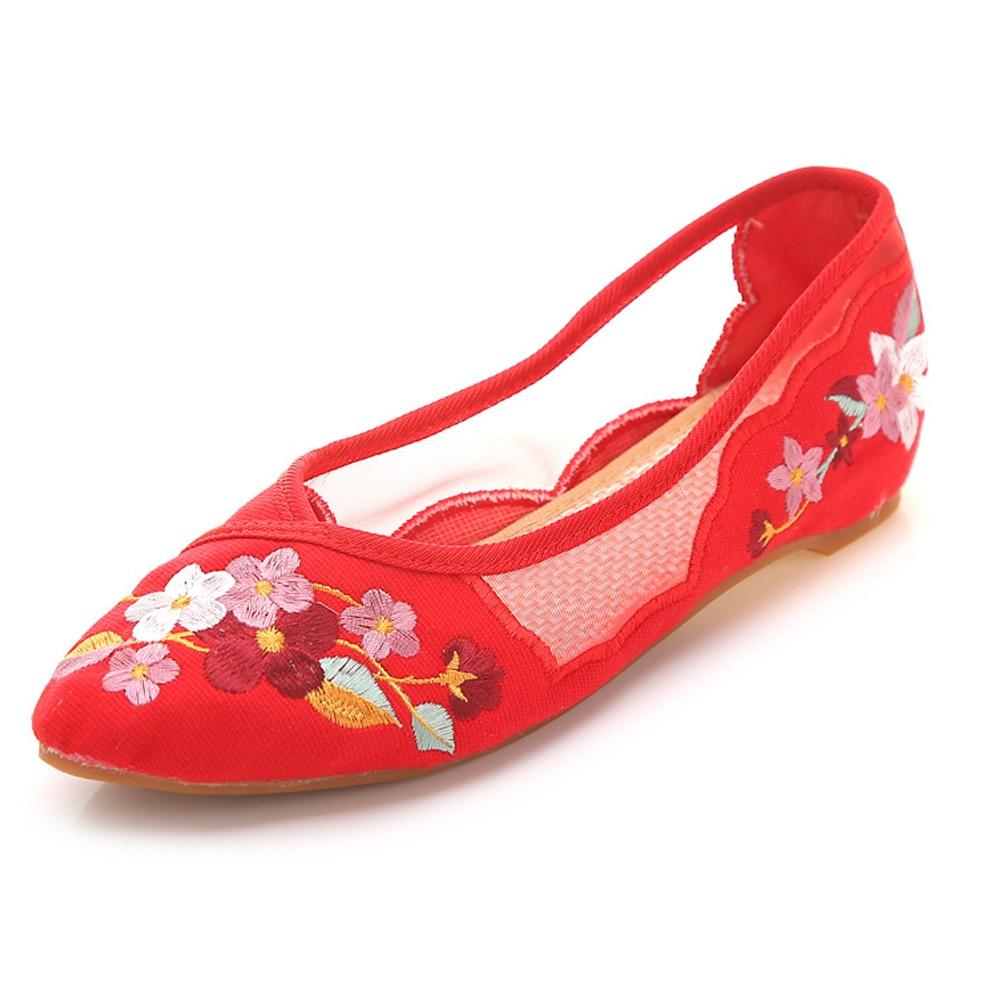 Mujer red En Gasa Pisos Chino Verano white Punta rojo negro Beige Floral Casual Transpirables rosado Suave Malla Zapatos black Bordado Bailarina Mujeres pqIxOR